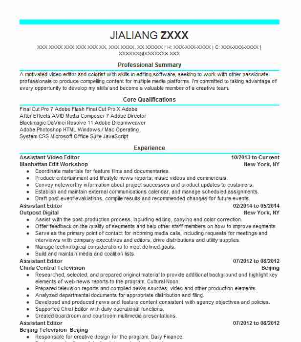 assistant editor resume example resumes livecareer examples simple administrative summary Resume Video Editor Resume Examples