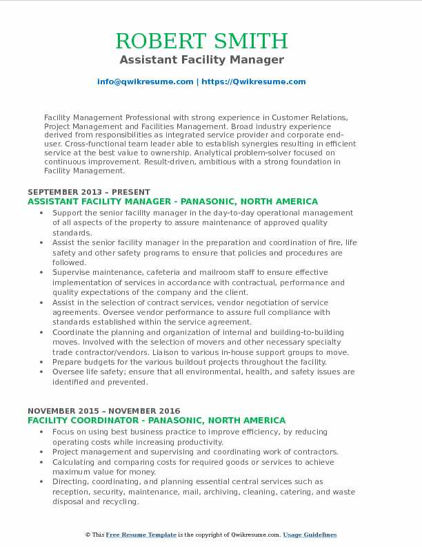 assistant facility manager resume samples qwikresume executive pdf examples for older Resume Facility Executive Resume