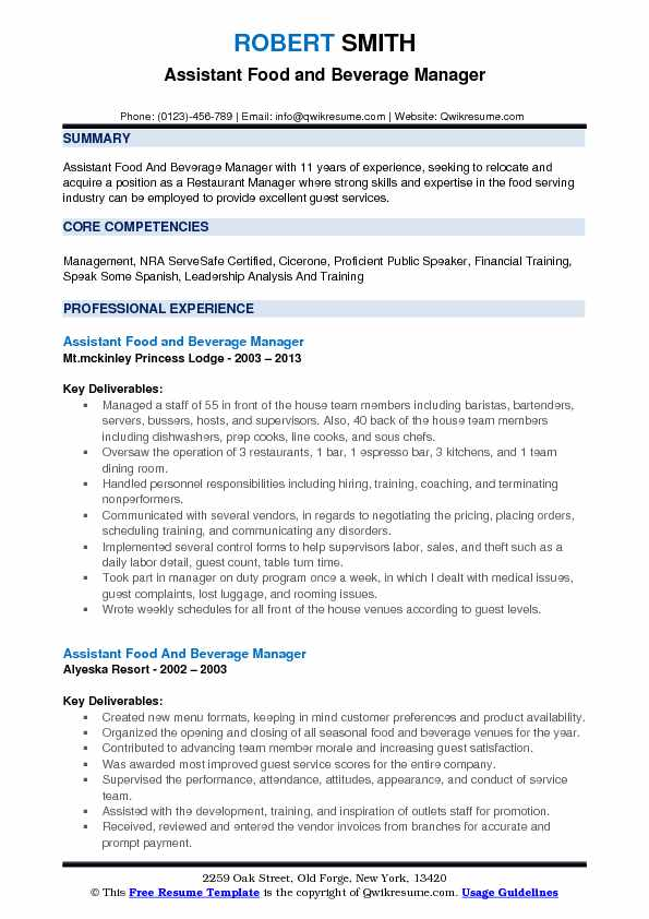 assistant food and beverage manager resume samples qwikresume pdf objective for youth Resume Food And Beverage Manager Resume