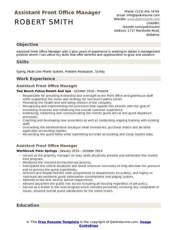 assistant front office manager resume samples qwikresume duties of for pdf demand planner Resume Duties Of Office Manager For Resume