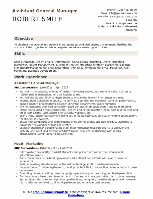 assistant general manager resume samples qwikresume headline for pdf community activist Resume Telecommunications Technician Resume Objective