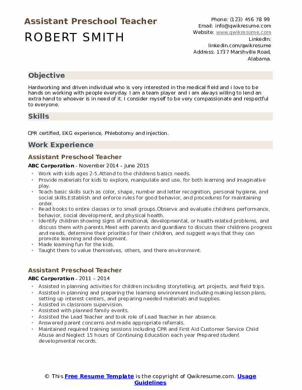 assistant preschool teacher resume samples qwikresume childhood template pdf example Resume Early Childhood Teacher Resume Template