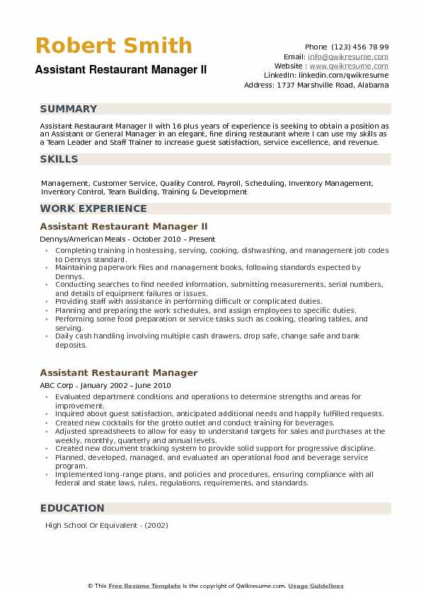 assistant restaurant manager resume samples qwikresume pdf mail delivery usps client Resume Restaurant Assistant Manager Resume
