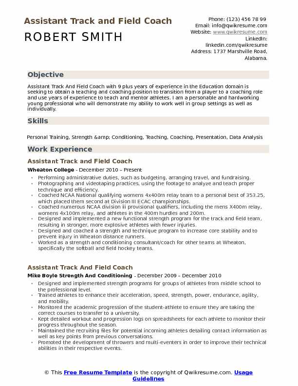 assistant track and field coach resume samples qwikresume sports template pdf free stock Resume Sports Coach Resume Template