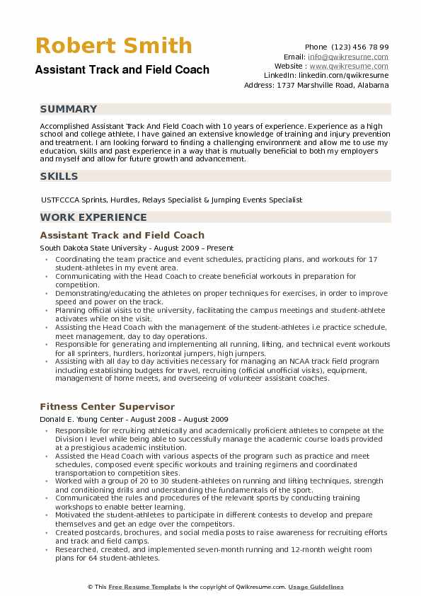 assistant track and field coach resume samples qwikresume sports template pdf web Resume Sports Coach Resume Template