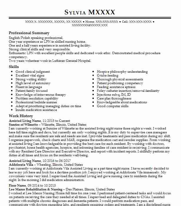 assisted living nurse resume example addolorata villa crystal entry level examples mis Resume Assisted Living Nurse Resume