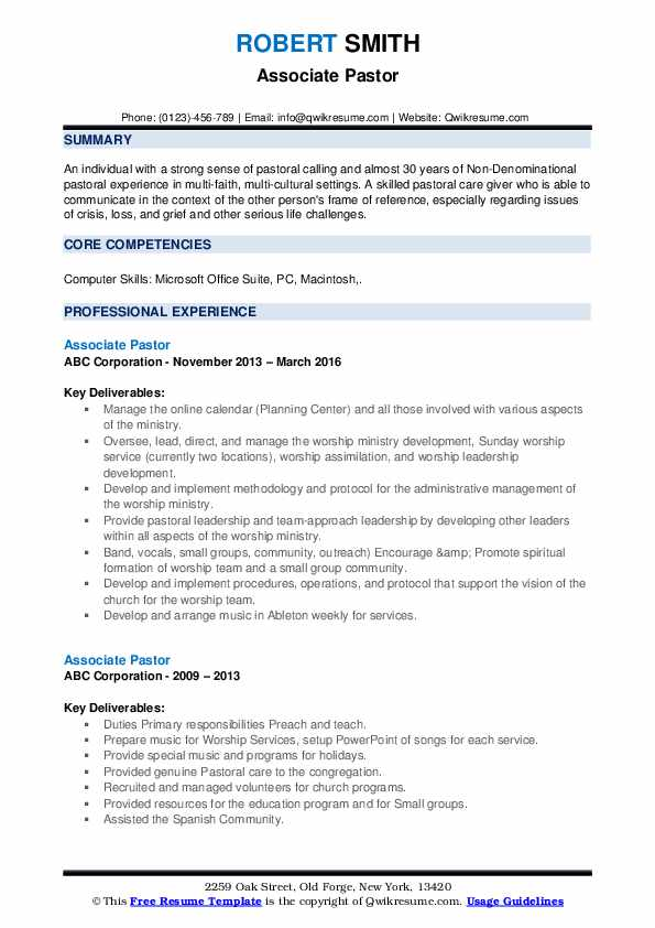 associate pastor resume samples qwikresume ministry templates for word pdf month end Resume Ministry Resume Templates For Word