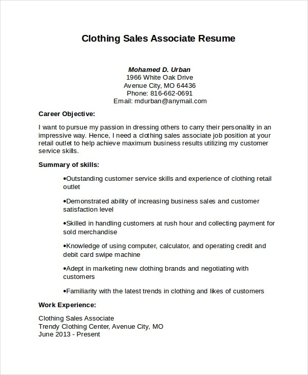 associate resume template free word pdf document premium templates summary clothing core Resume Sales Associate Summary Resume