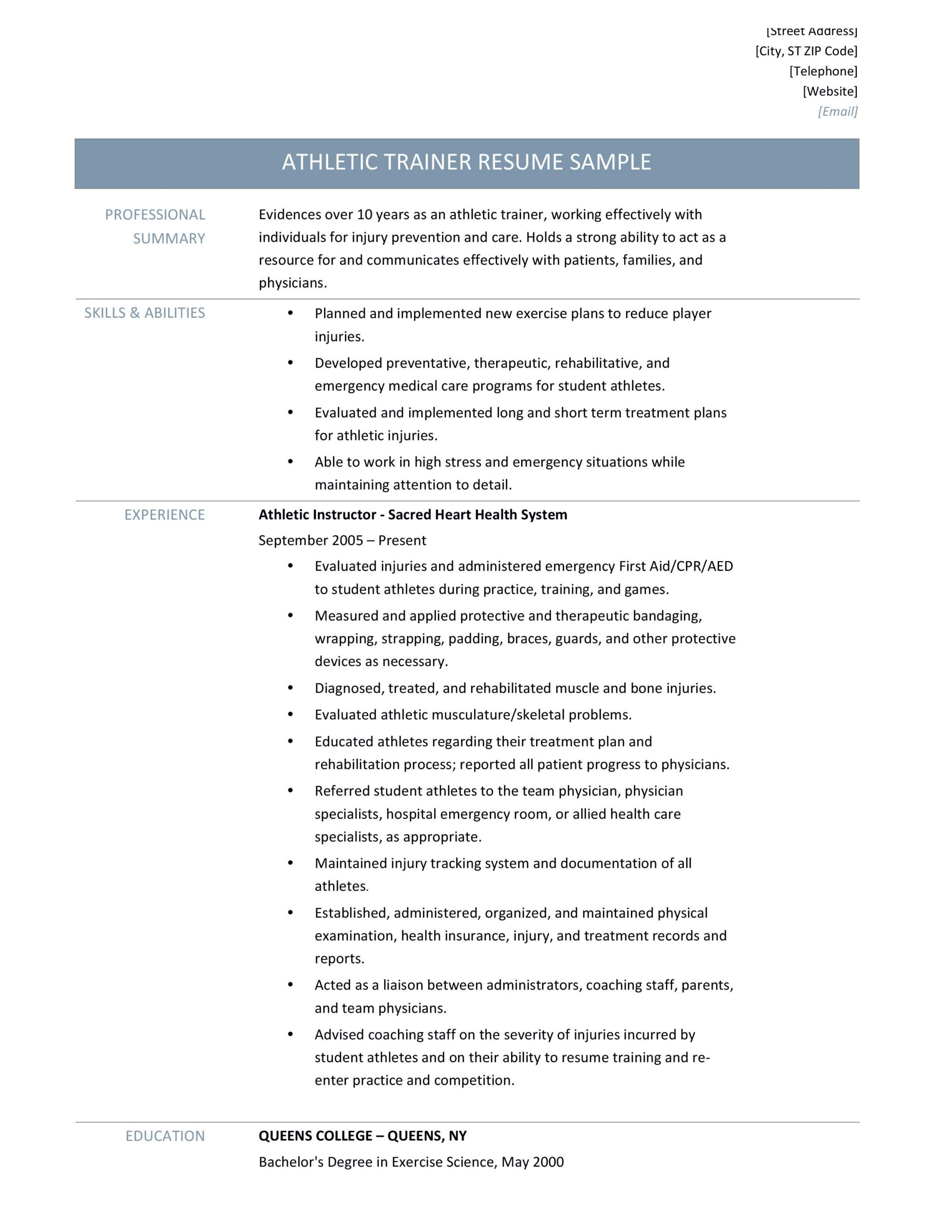 athletic trainer resume samples tips and templates by builders medium training student Resume Athletic Training Student Resume