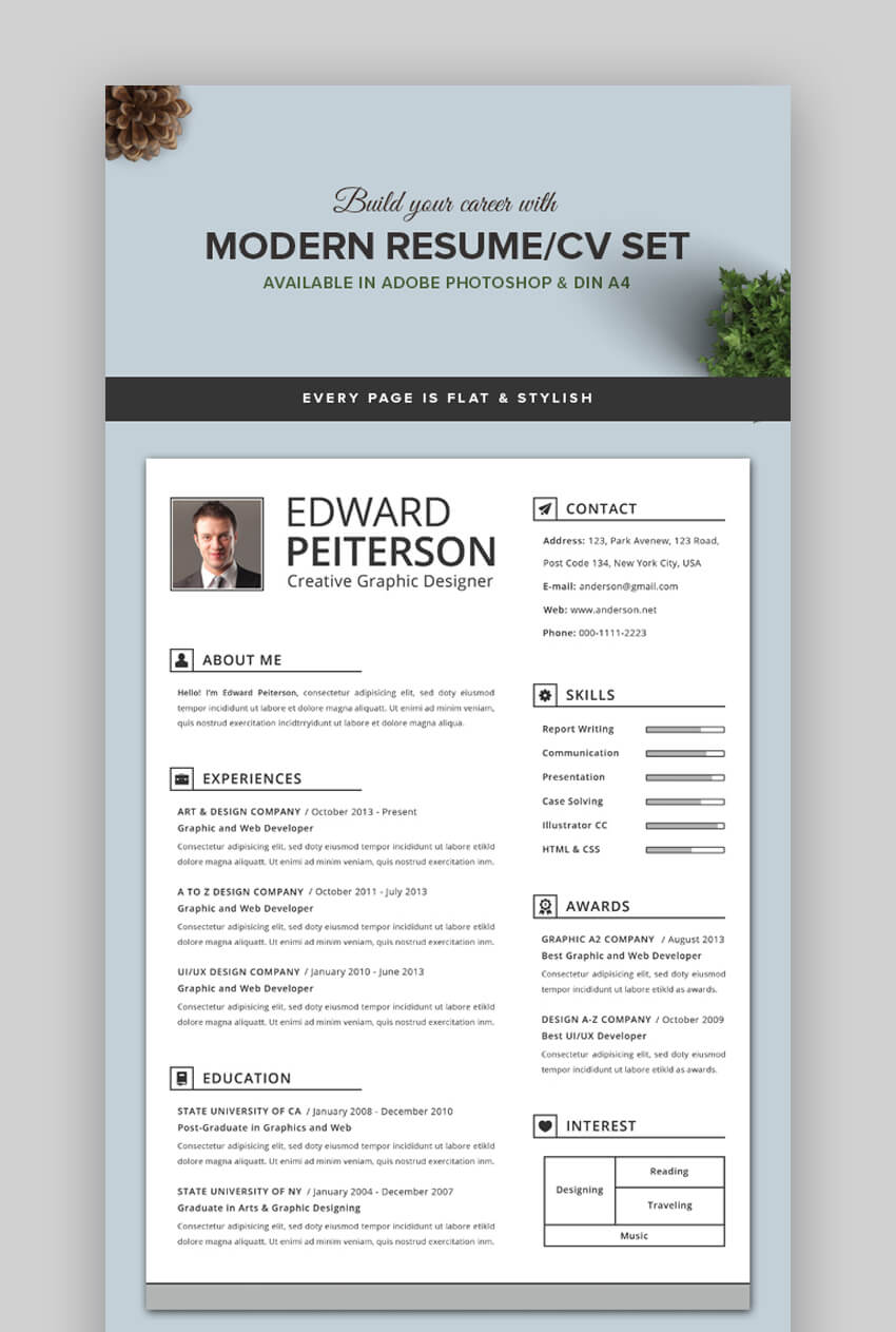 attractive eye catching resume cv templates with stylish aesthetics resumes free modern Resume Eye Catching Resumes Templates Free