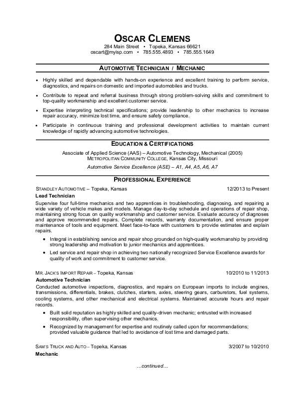 auto mechanic resume sample monster for technician areas of expertise accountant brand Resume Resume For Auto Mechanic Technician
