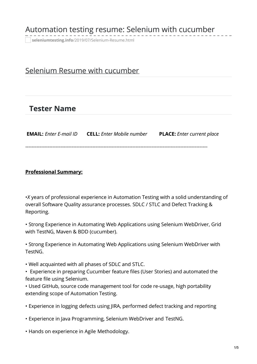 automation testing resume selenium with cucumber by manish dangwal issuu sample Resume Selenium Cucumber Sample Resume