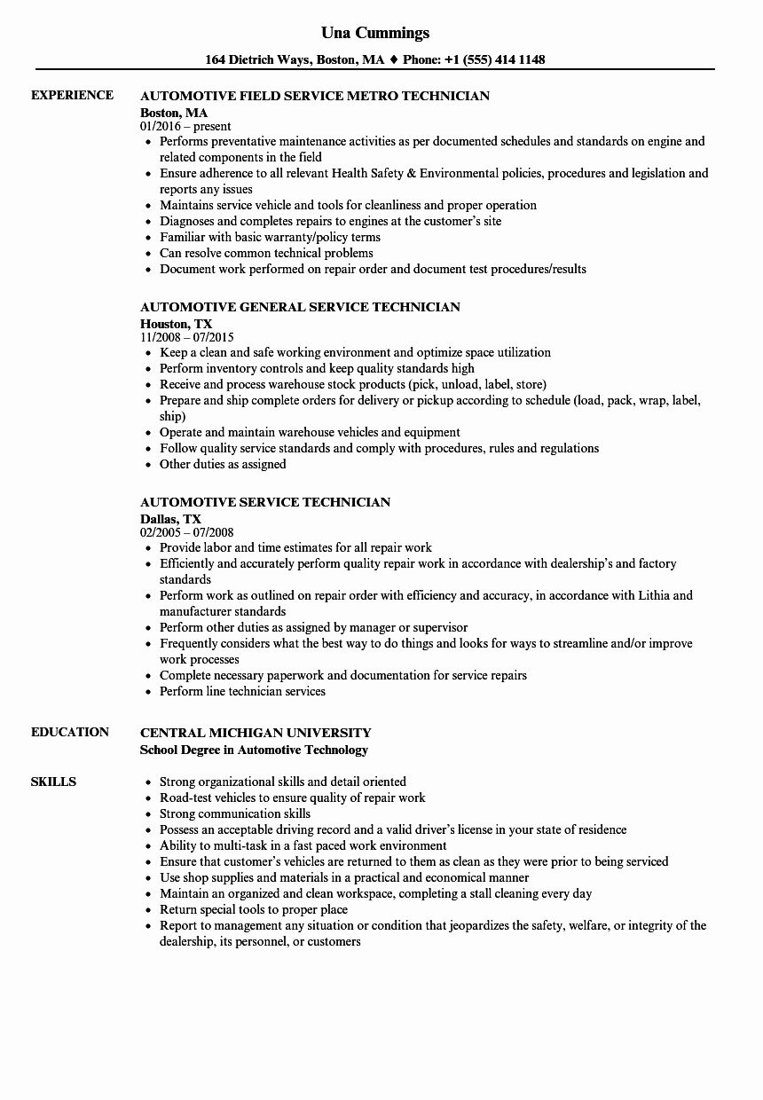 automobile service manager resume best of automotive technician samples job auto examples Resume Auto Service Manager Resume Examples