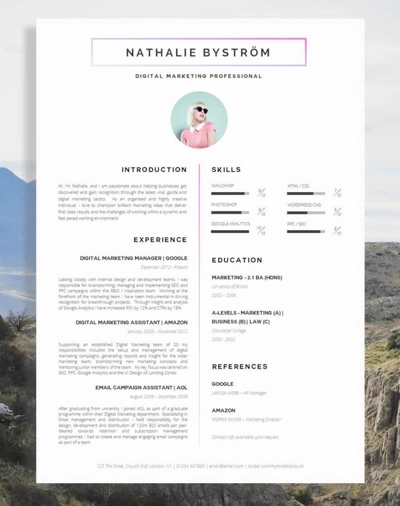 awesome examples of creative cvs resumes guru pretty resume templates cv 811x1024 Resume Pretty Resume Templates
