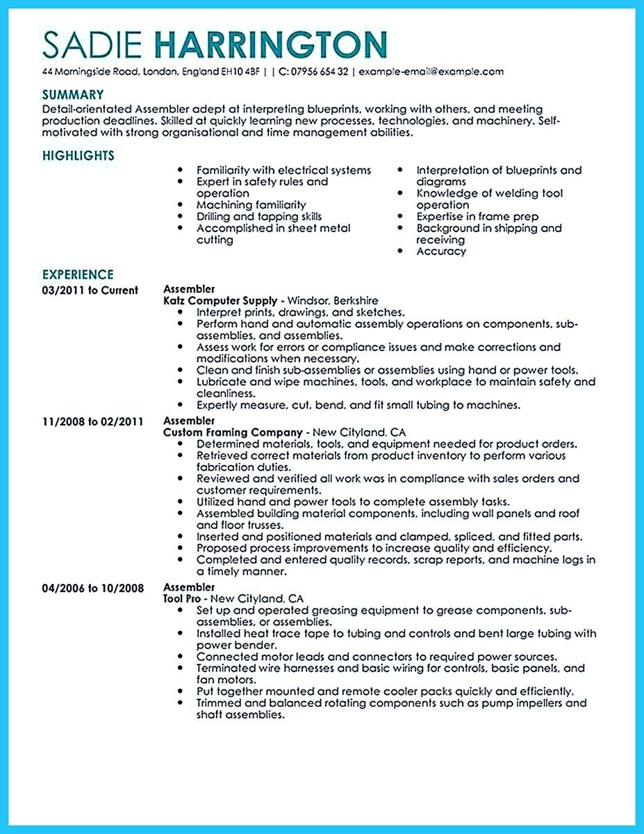 awesome professional assembly line worker resume to make you stand out good examples band Resume Assembly Line Worker Resume