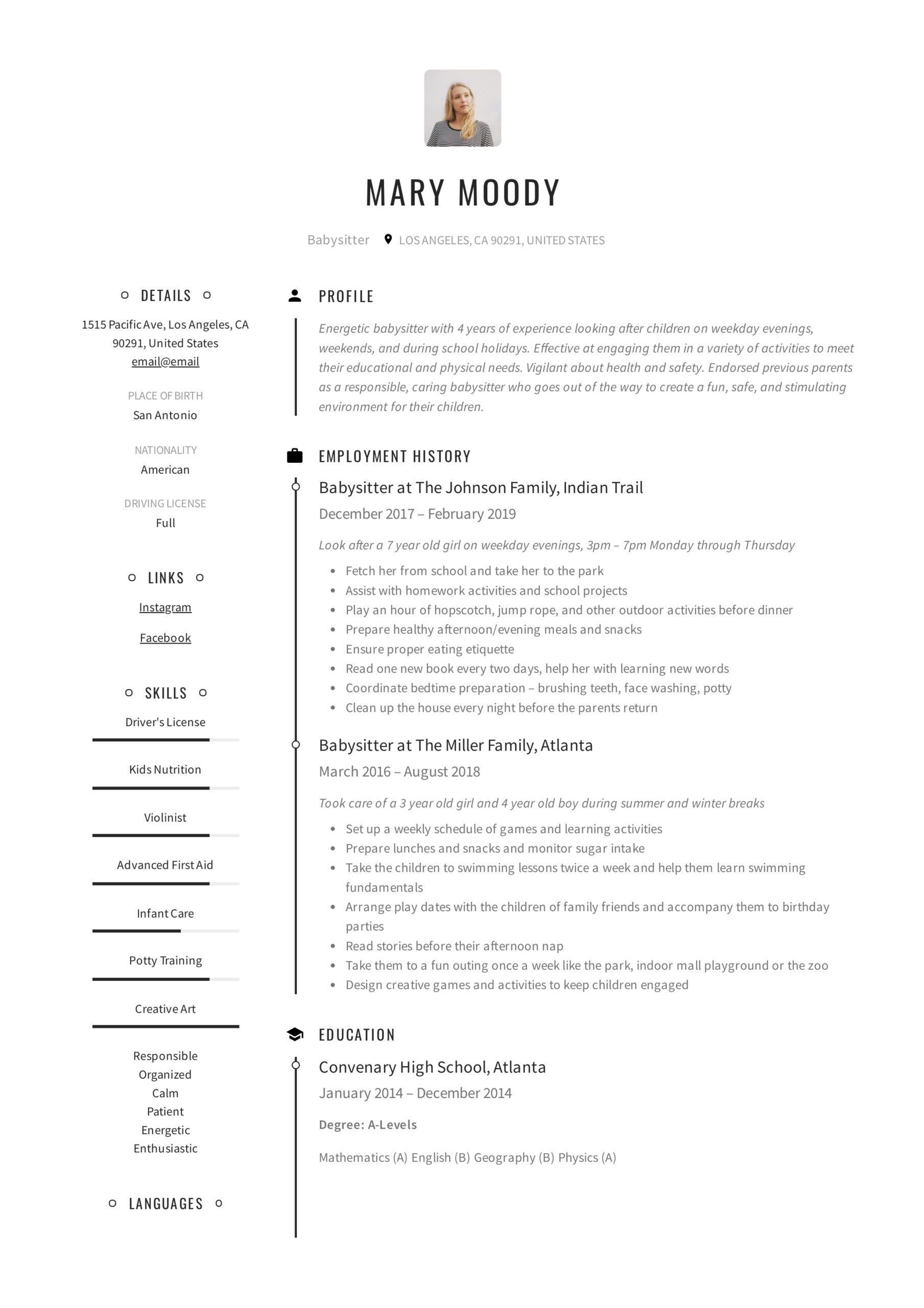 babysitter resume examples writing guide pdf job description for mary paragraph about Resume Babysitter Job Description For Resume