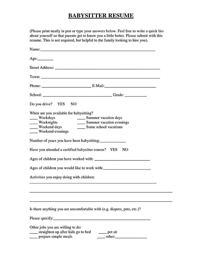 babysitter resume is going to help anyone interested in becoming part time nanny good can Resume Free Babysitting Resume Templates