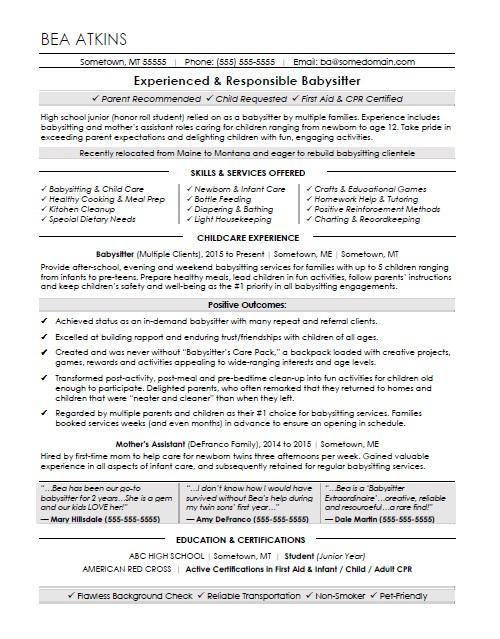 babysitter resume sample monster job description for training and development of Resume Babysitter Job Description For Resume