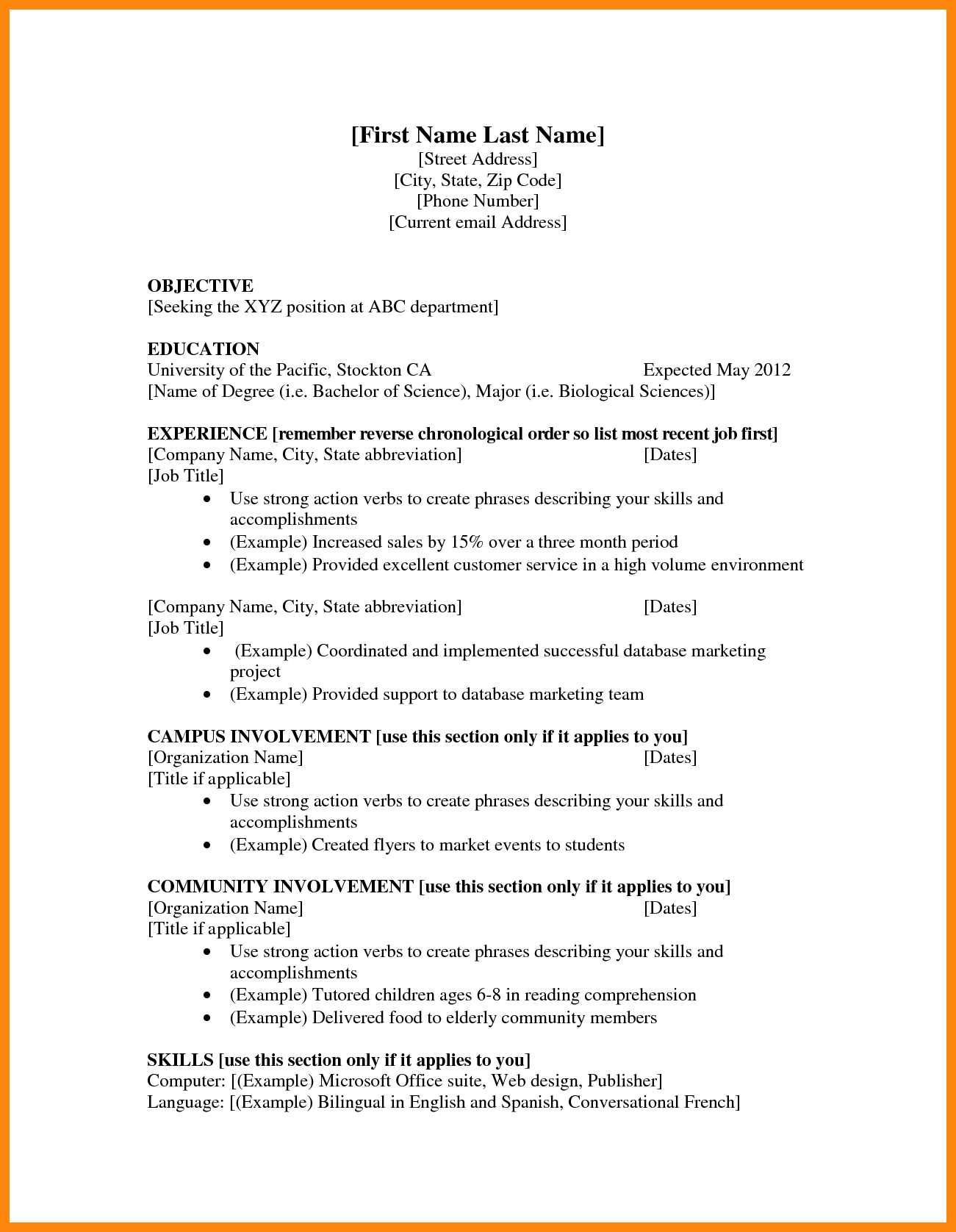 bachelor of science abbreviation resume awesome examples teenage resumes for first job Resume Bachelor Of Science Resume