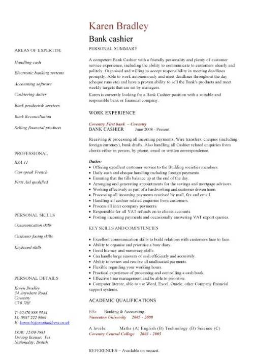 bank cashier cv sample excellent to communication skills banking objective on resume pic Resume Bank Teller Objective On Resume