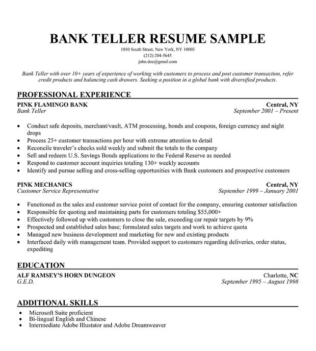 bank resume sample companion objective examples template el paso services education Resume Bank Teller Resume Template