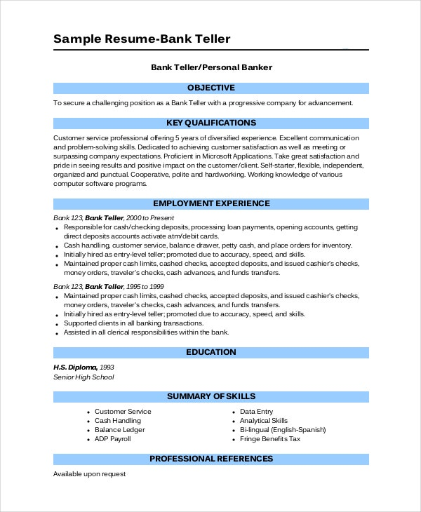 bank resume template free word excel pdf documents premium templates entry level personal Resume Entry Level Bank Teller Resume