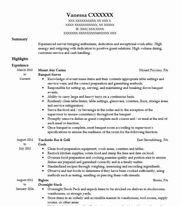 banquet server resume example food service resumes objective experienced chartered Resume Server Resume Objective
