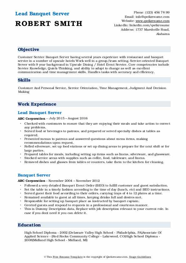 banquet server resume samples qwikresume objective pdf safety comprehensive meaning Resume Server Resume Objective