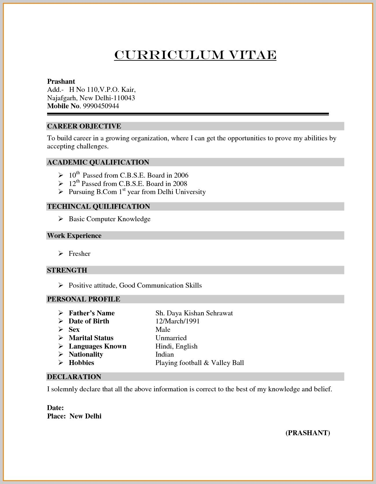 bcom student resume format pdf best examples for freshers functional example apartment Resume Resume Format For Freshers Pdf