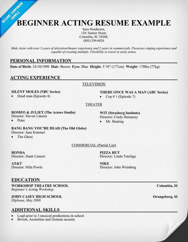 beginner acting resume sample companion template monologues actor model nonprofit Resume Actor Model Resume Template