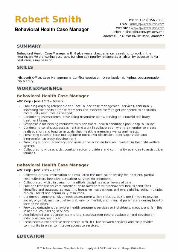 behavioral health case manager resume samples qwikresume management experience pdf front Resume Case Management Experience Resume