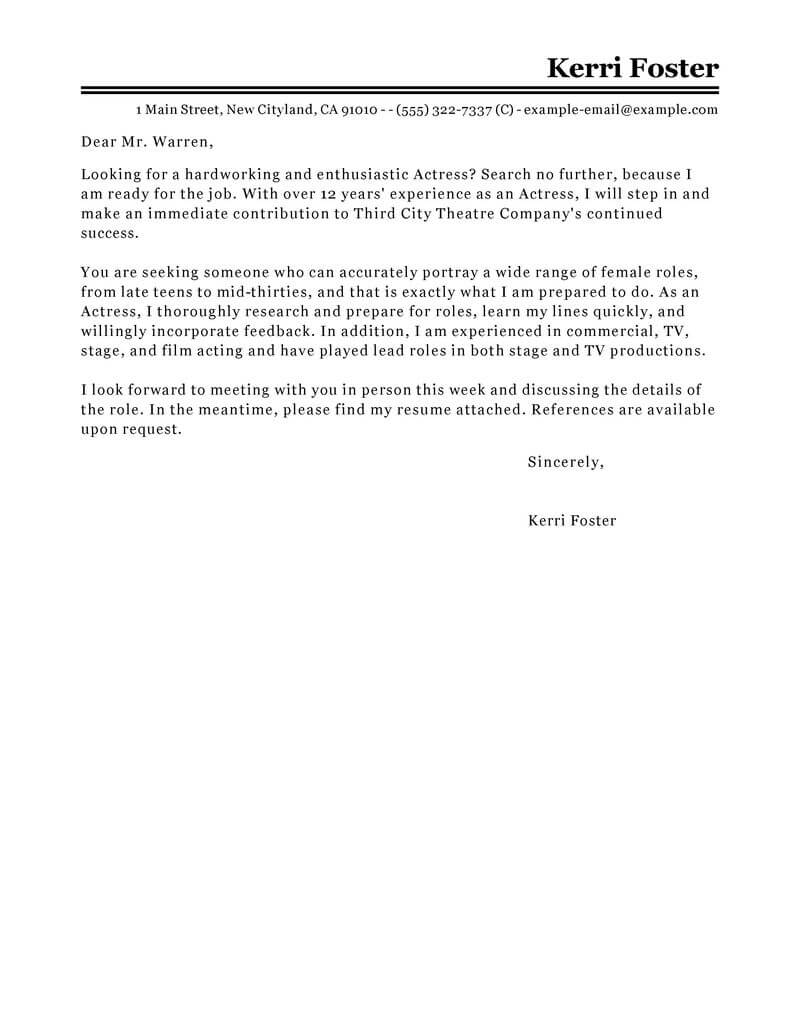 best actor actress cover letter examples livecareer resume for acting audition without Resume Resume For Acting Audition Without Experience