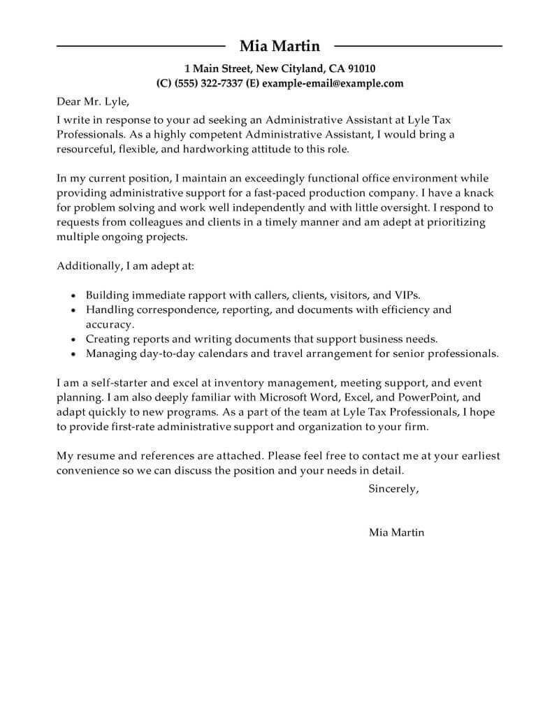 best administrative assistant cover letter examples livecareer example of resume for Resume Example Of Resume Cover Letter For Administrative Assistant