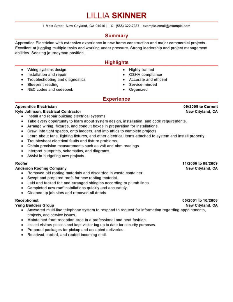 best apprentice electrician resume example livecareer skills for construction modern Resume Resume Skills For Electrician