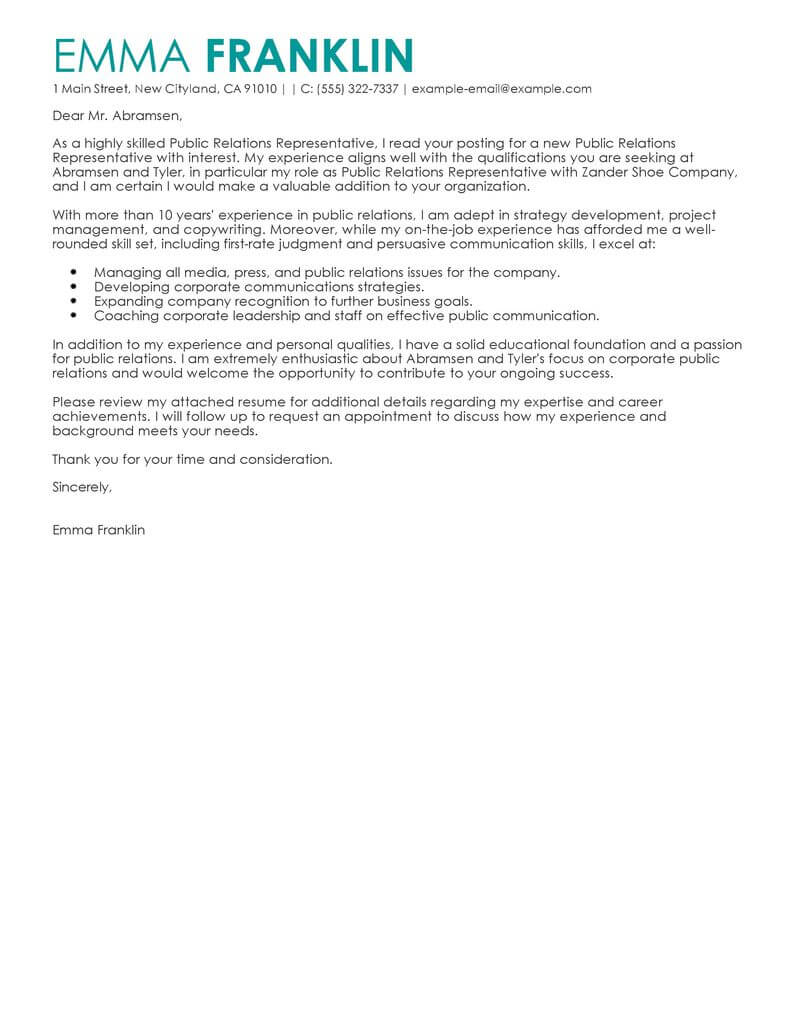 best business cover letter examples livecareer starting resume marketing public relations Resume Starting A Resume Business