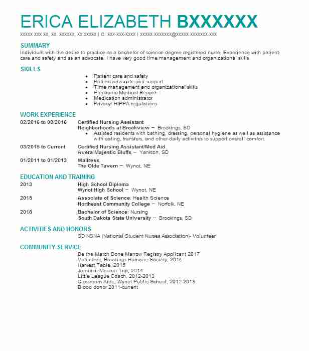best certified nursing assistant resume example livecareer examples malala yousafzai heb Resume Nursing Assistant Resume Examples