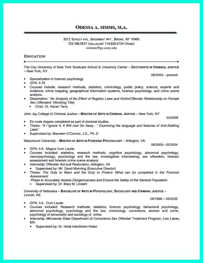 best criminal justice resume collection from professionals chronological examples summary Resume Summary Section Of Resume