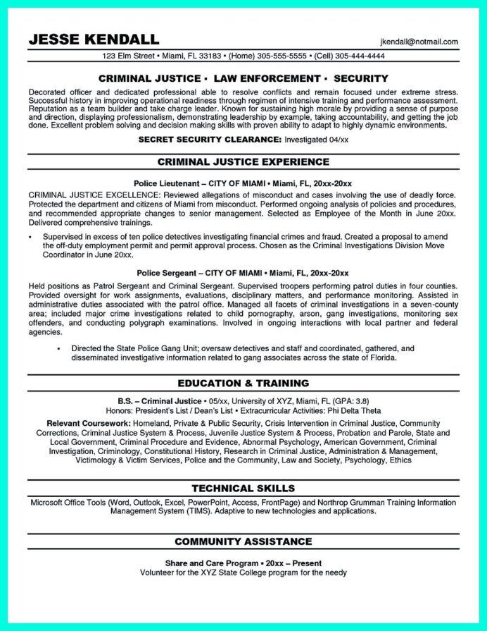 best criminal justice resume collection from professionals objective examples summary Resume Summary Section Of Resume