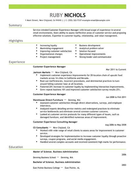 best customer experience manager resume example livecareer service headline retail Resume Customer Service Resume Headline