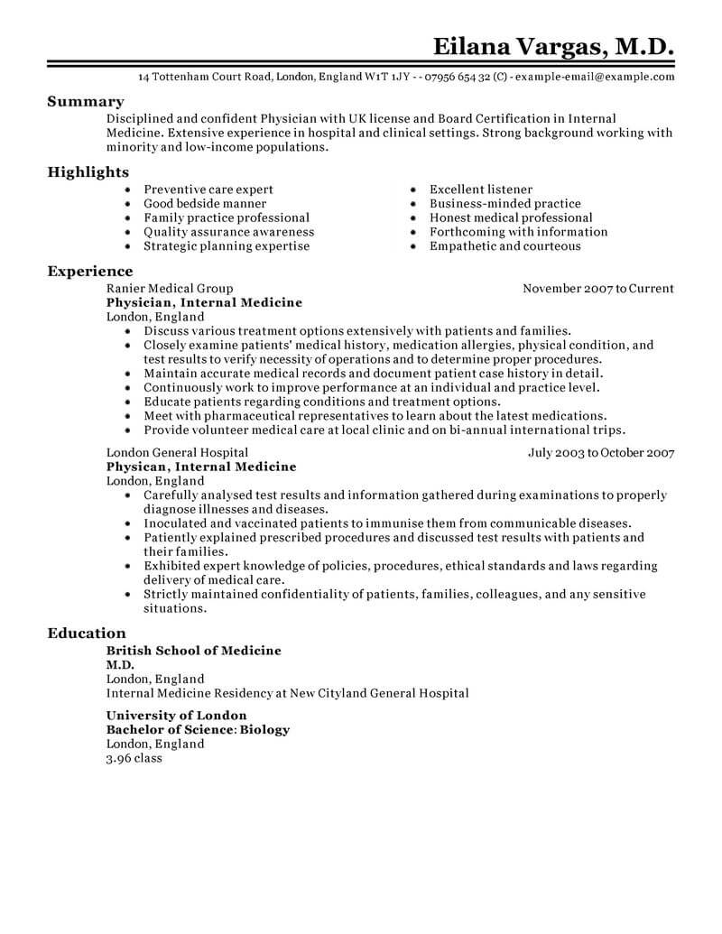best doctor resume example livecareer examples for healthcare jobs classic marketing Resume Resume Examples For Healthcare Jobs