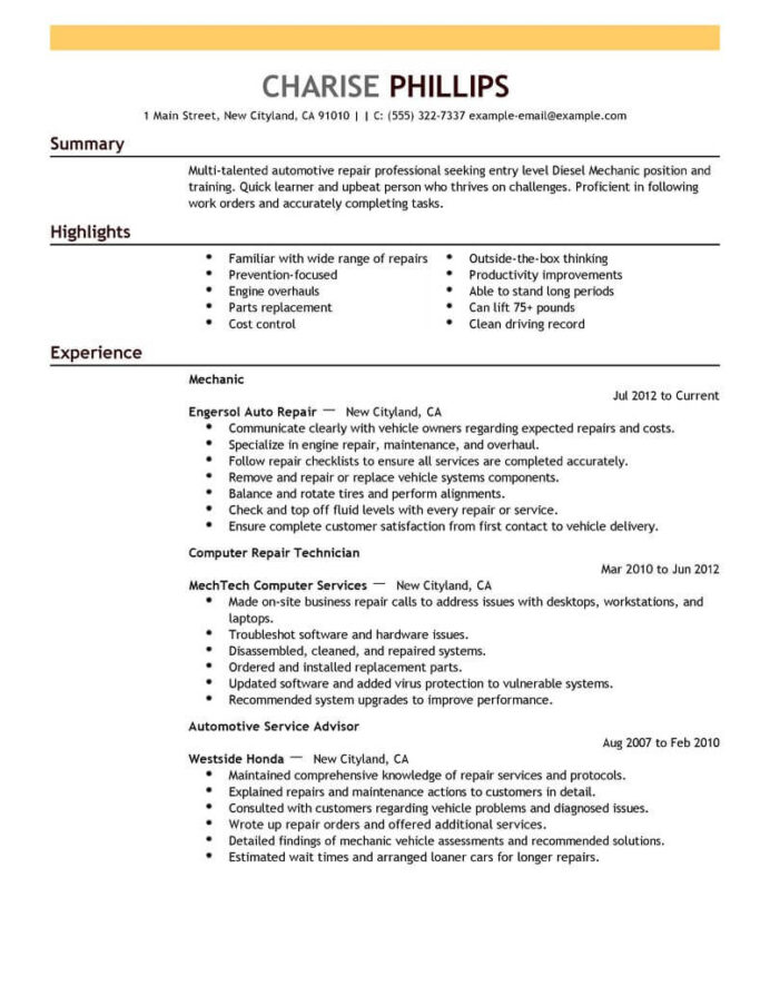 best entry level mechanic resume example livecareer format installation repair emphasis Resume Entry Level Resume Format