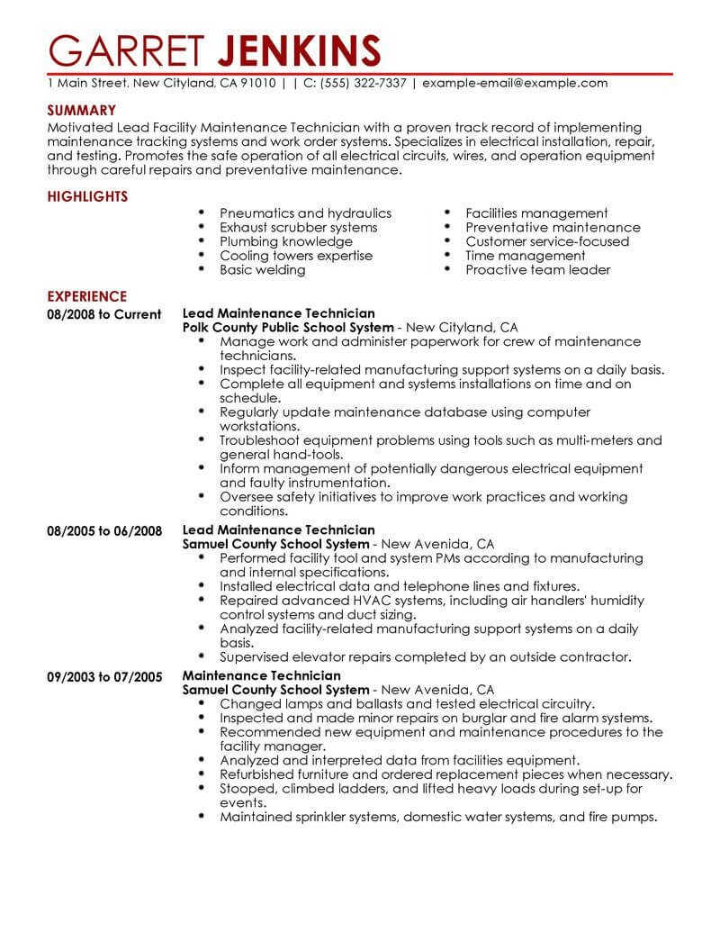best facility lead maintenance resume example livecareer examples for jobs janitorial Resume Resume Examples For Maintenance Jobs