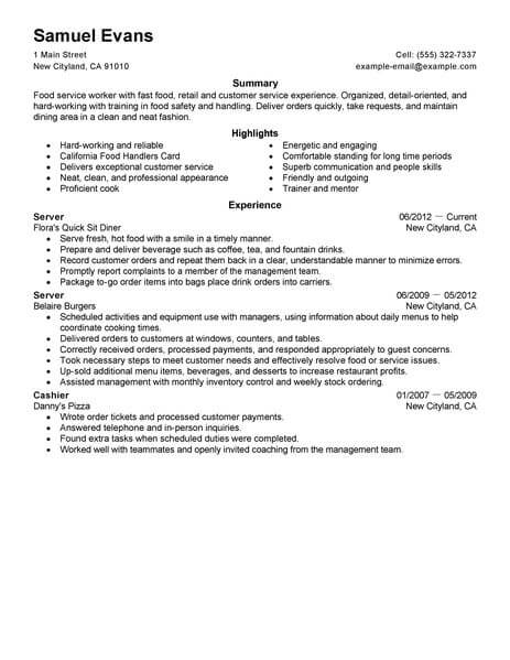 best fast food server resume example livecareer examples restaurant space saver 463x600 Resume Fast Food Resume Examples