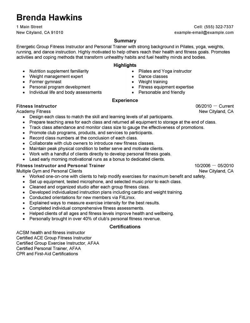 best fitness and personal trainer resume example livecareer objective for care services Resume Resume Objective For Trainer
