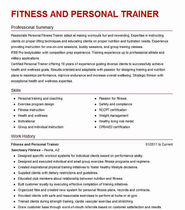 best fitness and personal trainer resume example livecareer sample help san diego hvac Resume Personal Trainer Resume Sample
