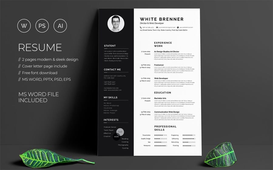 best free printable resume templates modern template minimal brenner examples for Resume Free Modern Resume Template 2020