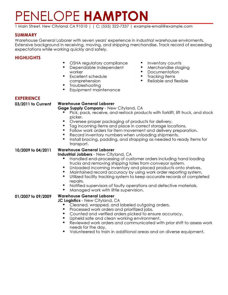 best general labor resume example livecareer for job production contemporary chemist Resume Resume For General Job