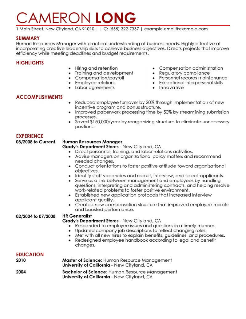 best human resources manager resume example livecareer template contemporary money Resume Human Resources Manager Resume Template