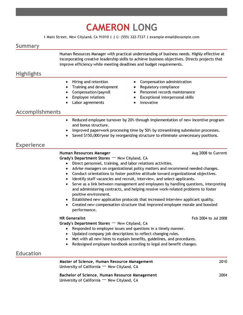 best human resources manager resume example livecareer template emphasis transcription Resume Human Resources Manager Resume Template