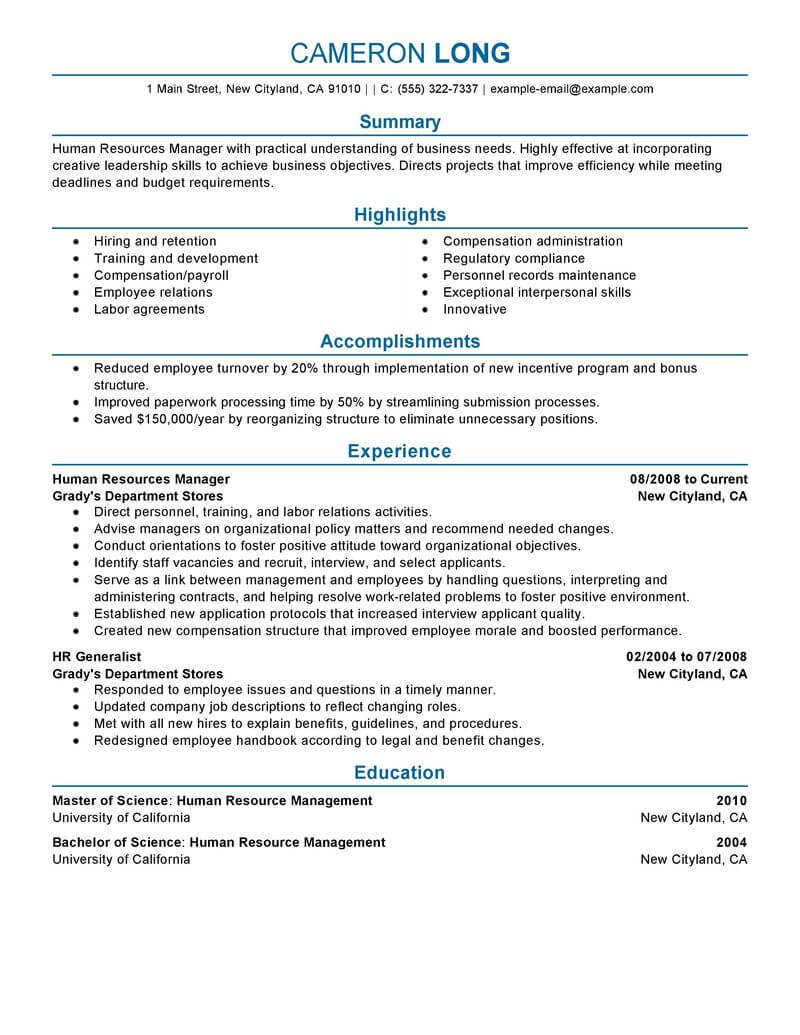 best human resources manager resume example livecareer template professional developer Resume Human Resources Manager Resume Template